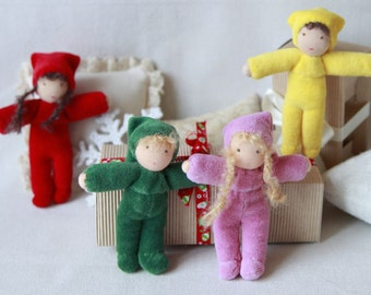 Sale Waldorf doll gnome 4 inch (11 cm) pocket doll party favours doll