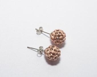 Champagne round earrings, bling earrings, disco ball earrings, glitter earrings, party earrings - sold in pair