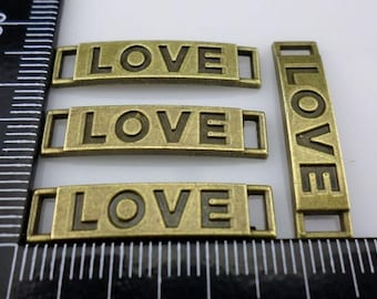"""28/300pcs Ancient bronze 2 holes bend rectangle Lettering """"Love"""" Connectors"""