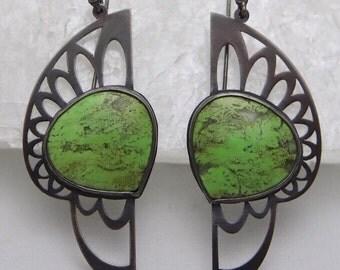 Warrior Earrings. Oxidized pierced sterling, gaspeite.