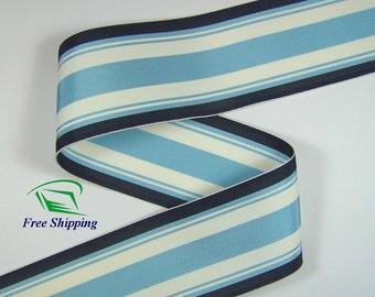 "2.0"" (50mm) Blue & Navy Blue Stripe Grosgrain Ribbon 1014 (2 yds)"