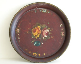 French vintage tole tray beautiful burgundy red colour, hand painted bouquet in centre, some crackling, pretty worn effect.