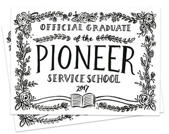 Set of Flat Cards - Official Graduate of the Pioneer Service School 2017, Pioneer Graduation Card, Jehovah's Witnesses, JW Gift, PSS Gift