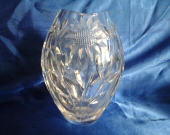 Lead Crystal Vase Cut Glass Sunflower Design