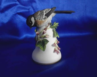 "Franklin Mint Porcelain Bone China Bird Bell ""Coal Tit or Black Capped Chickadee on Flowering Ivy"" by Peter Barrett"