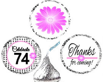 74th Birthday / Anniversary Pink Black Polka Dot Party Favor Hershey Kisses Candy Stickers / Labels -216ct