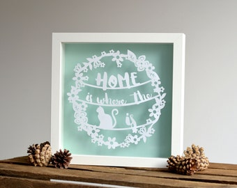 Framed floating 'Home is where the cat is' paper cut print