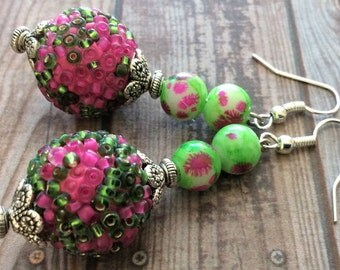 Multi Color Earrings, Pink Earrings, Green Earrings, Glass Earrings