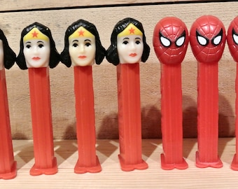 Vintage Pez Dispensers, Superhero Pez Dispensers, 11 Dispensers, Wonderwoman Pez Dispensers, Spiderman Pez Dispenser, The Hulk Pez Dispenser