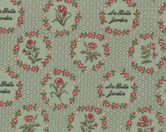 Item # 13631 13 Moda Fabric La Belle Fleur Collection by French General. 1/2 Yard Cuts Vintage French Designs.