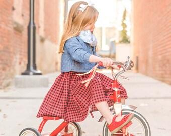 Girls Dress, buffalo plaid dress, toddler dress, baby girl dress, girls summer dress, buffalo plaid toddler dress, red dress for baby