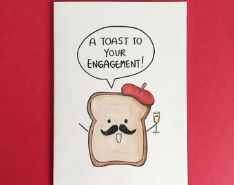 A Toast To Your Engagement! Funny Cute French Toast Foodie Engagement Card