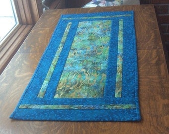 Teal table runner, batik table runner, quilted table runner, watercolor table runner, blue table runner