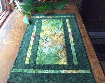 Green table runner, batik table runner, batik table mat, quilted table runner, coffe table runner, green batik runner