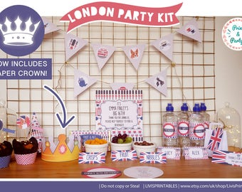 Chic London Themed Party Kit ,  Digital DIY Printable Suite , British Home Party Decor , Stylish England Union Jack , Birthday Party props