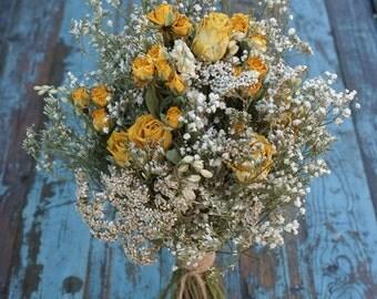 Happy Rose Garden Dried Flower Wedding Bouquet