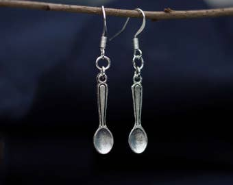 Vintage earrings with silver spoon