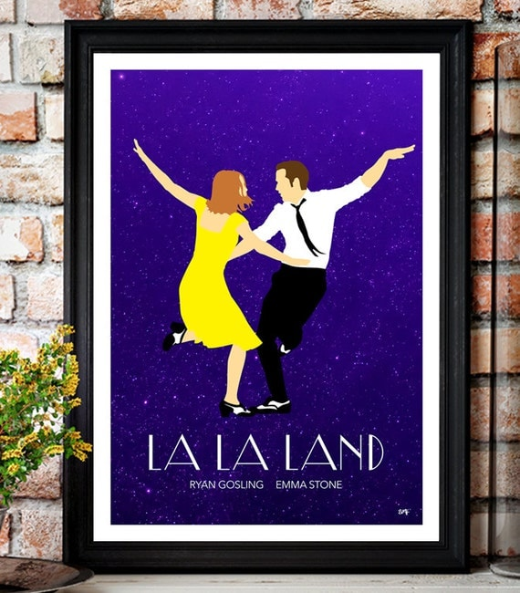 La La Land // Ryan Gosling // Emma Stone // Minimalist Movie Poster // Unique A4 / A3 Art Print
