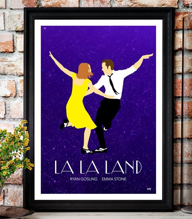 La La Land // Ryan Gosling // Emma Stone // Minimalist Movie Poster // Unique A4 / A3 Art Print