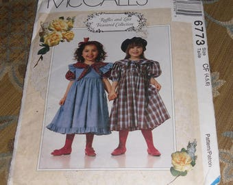 McCall's Pattern #6773 Child's Dresses Size 4,5,6 Uncut & Unused
