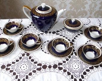 Beautiful vintage WEIMAR real cobalt porcelain Mocha / / espresso / / coffee service real real cobalt cobalt cobalt blue cobalt blue Teacup