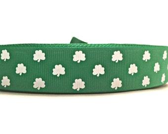 Shamrock Ribbon, Shamrock Grosgrain, St Patricks Day Ribbon, Clover Ribbon, Clover Grosgrain, Lucky Ribbon, Lucky Grograin, Green Ribbon