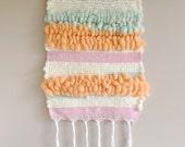 Woven wall art// tapestry art, nursery room decor, pastel wall art, textured art/ cute weaving, soft art, orange, green, pink