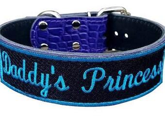 Daddy's Princess BDSM Collar, Purple Leather Submissive Collar, Purple Bondage Collar, Pet Play Collar,Black Leather Bondage Collar