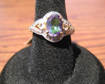 Green Mystic Quartz (8x6mm) Faceted Gemstone with White Topaz Accents and Yellow Gold Overlay Sterling Silver Ring Size 6, No. 1481.