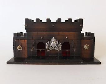1970's Wood Castle Barware Decanter Box, Vintage Midieval Bar Set