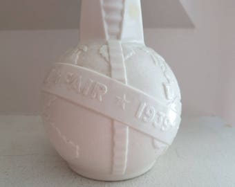 Vintage Souvenir Milk Glass Bottle- Worlds Fair 1939