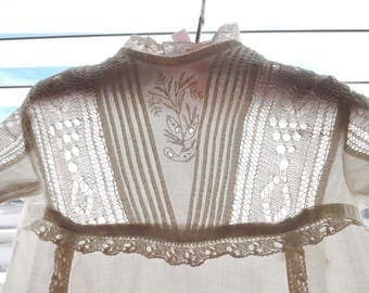 Antique Victorian Long White Cotton & Lace Trim Baby Day Christening Day Gown Dress
