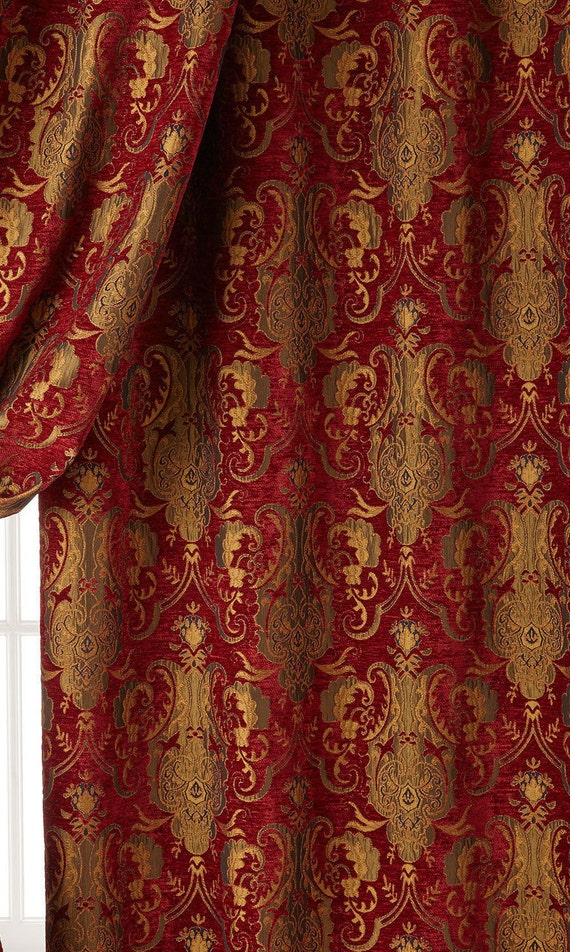 Chenille Damask Fabric Renaissance Home Decor Upholstery