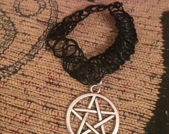 Tattoo choker necklace with silver pentagram charm