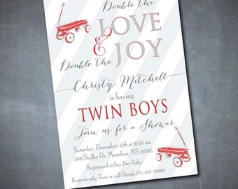 Baby Shower for Twin Boys/DIGITAL FILE/printable/wording can be added or changed