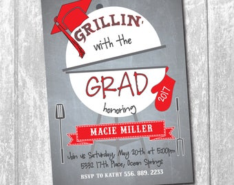 "Graduation Party Invitation...""Grillin' with the Grad"".../DIGITAL FILE/printable/wording and colors can be changed"