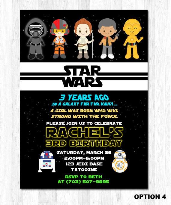 Mädchen Star Wars Einladung Girl Star Wars Einladung Star, Einladungen