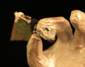 Dread Clip Smoking Clip OOAK Rusty Bones Skeleton Arm Hand Holding Bird Wire Wrap Hair Clip Glow In Dark Post Apocalypse Mad Max