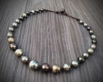 tahiti  tahitian pearl necklace leather
