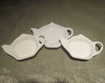 White China Teapot Tea Bag Holders Two Sizes Set of 3 Spoon Rest Tea Serving Dining Kitchen - CT0227