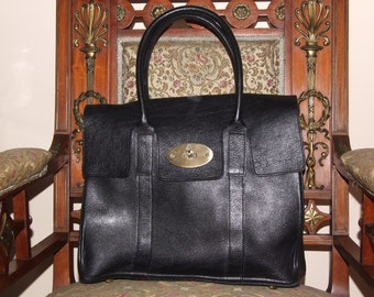 Amazing MULBERRY Made in England Black Leather Handbag/Beautiful MULBERRY Bayswater Black Handbag/Lovely Mulberry Black Leather Shoulder Bag