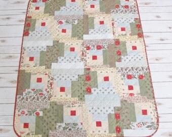 Patchwork Lap Quilt - Log Cabin Lap Quilt - Handmade Quilt - Feminine Lap Quilt - Retro Quilt - Gift for Mom - Winter Bride Quilt