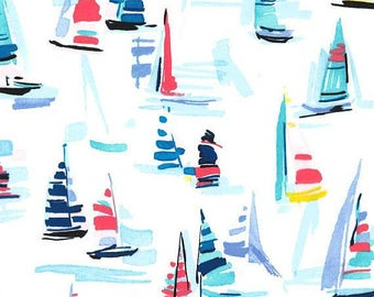 Sailboat Fabric - Michael Miller Fabrics - Regatta - Mari - Fabric by the Half Yard