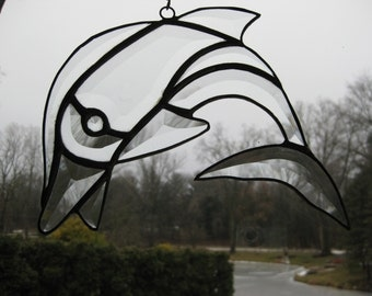 Hand made art clear beveled dolphin