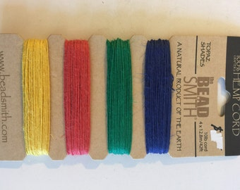 Natural Hemp Cord, 10lb test, Topaz Shades