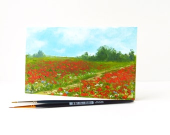 Hand-painted card Landscape with poppies Handmade paper card Poppy art Greeting card flowers Birthday card Thank you card Poppy field