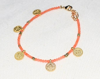 Coral boho bracelet and gold-plated coins