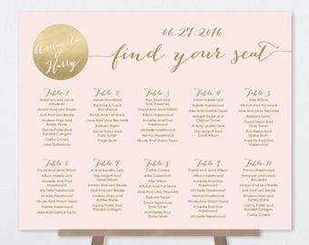 Blush and Gold Seating Chart Sign / Metallic Gold and Blush / Faux Gold Wedding Seating Sign ▷ Printable File {or} Printed & Shipped