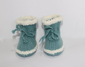 Blue Baby Uggs, Boho Crib Shoes, Blue Knit Booties, Baby Ugg Boots, Wool Knit Booties, Baby Boy Boots, Baby Shower Gift, Funky Baby Booties