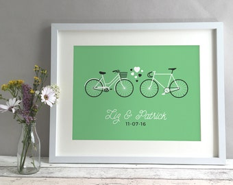 Bicycle Bike Anniversary Gift Present, Personalised Print Fixed Gear Bike Fixie, Unique Paper Anniversary Gift for Couple (unframed)
